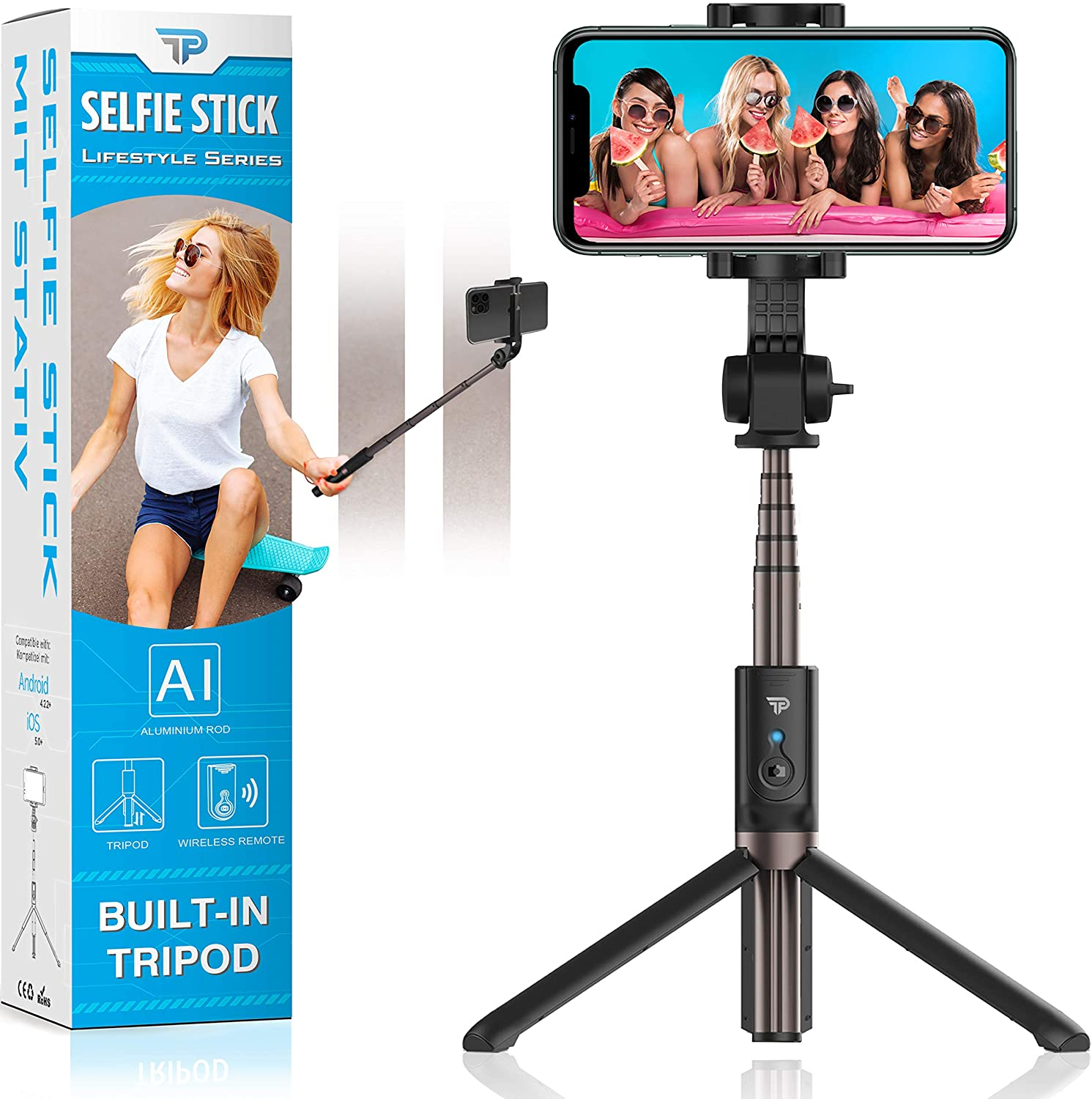 Power Theory Bluetooth Selfie Stick mit Handy Stativ mit Fernauslöser
