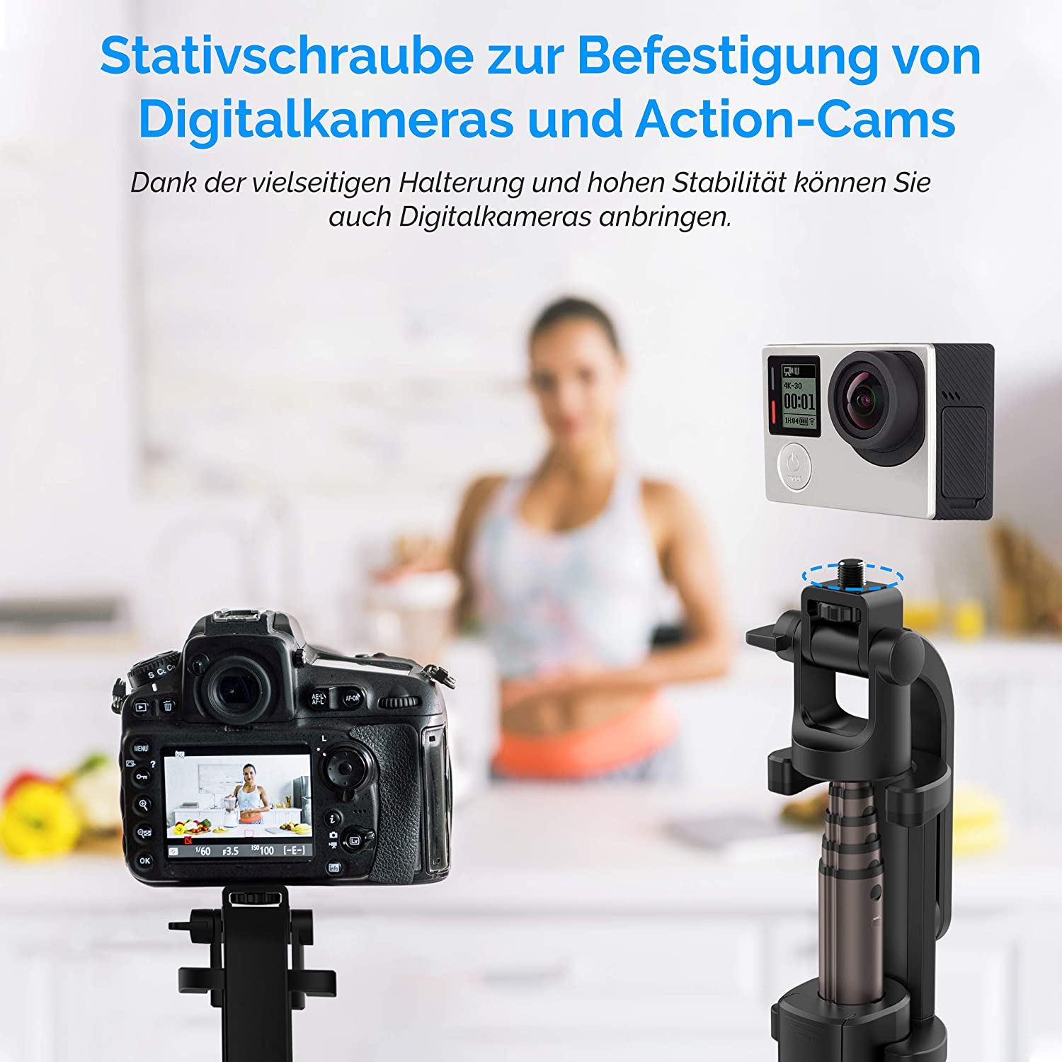 Power Theory Bluetooth Selfie Stick mit Handy und Kamera Stativ (80cm)