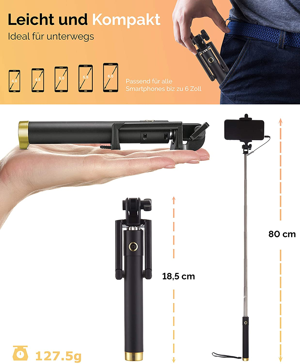 Power Theory Bluetooth Selfie Stick - Kabelloser Wireless Selfiestick