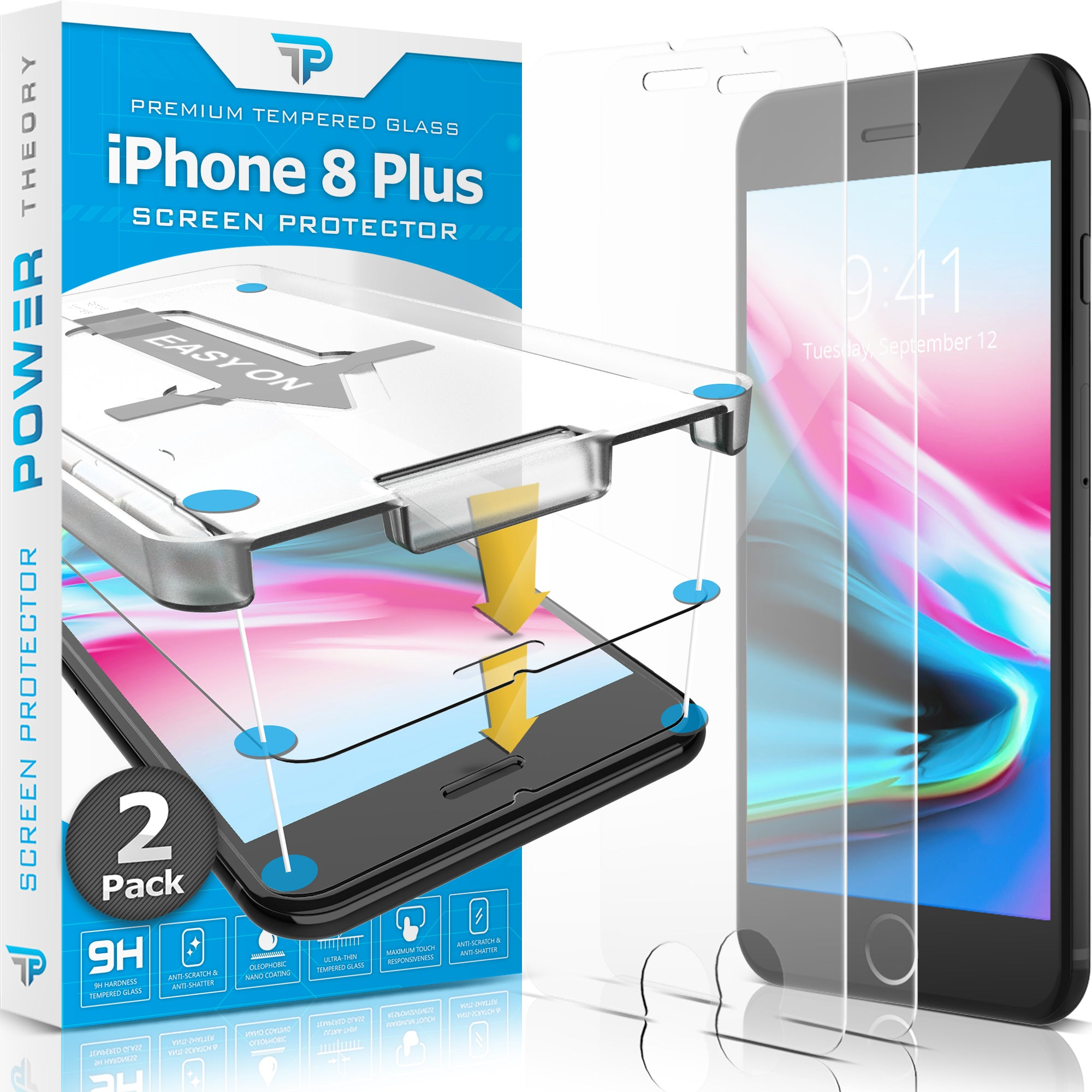 Power Theory Panzerglasfolie Passend für iPhone 8 Plus (2 Stück)