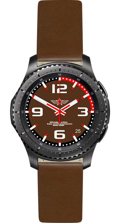 Watch Face Samsung Gear S3 Frontier - Classic - S2 design Fashion Brown - Bandsforwatches