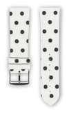 100% Cotton watchband with calf leather back. Design: Black Dots