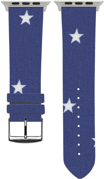 100% Cotton watchband with calf leather back. Design: Blue Star