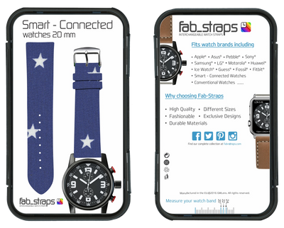 100% Cotton watchband with calf leather back. Design: Blue Star - Bandsforwatches