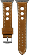 "Italian Luxury Leather ""Sellier"" ""O"" watchband handmade in France. Color: Brown - Bandsforwatches"