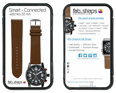 "French Leather ""Fashion"" watchband handmade in France. Color: Brown - Bandsforwatches"