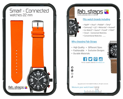 "French Leather ""Fashion"" watchband handmade in France. Color: Orange - Bandsforwatches"