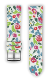 100% Cotton watchband with calf leather back. Design: Flora