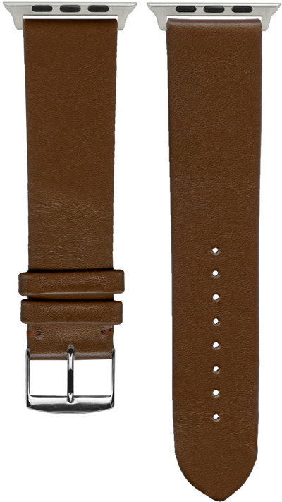 "French Leather ""Fashion"" watchband handmade in France. Color: Brown"