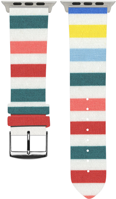 100% Cotton watchband with calf leather back. Design: Iris - Bandsforwatches