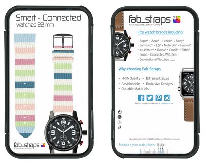100% Cotton watchband with calf leather back. Design: Lollypop - Bandsforwatches