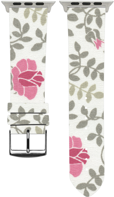 100% Cotton watchband with calf leather back. Design: Lovisa - Bandsforwatches