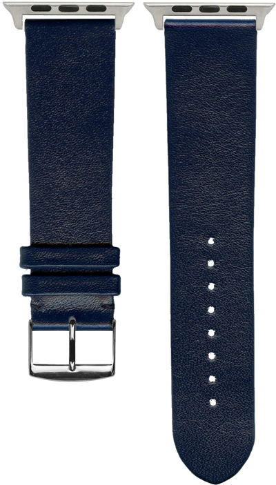 "French Leather ""Fashion"" watchband handmade in France. Color: Marine"
