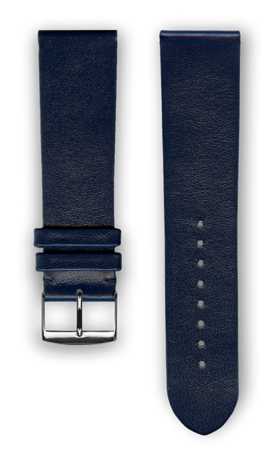 "French Leather ""Fashion"" watchband handmade in France. Color: Marine - Bandsforwatches"