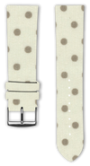 100% Cotton watchband with calf leather back. Design: Beige Dots