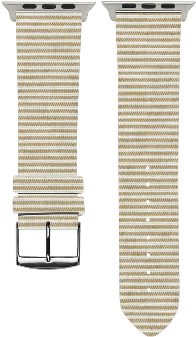 100% Cotton watchband with calf leather back. Design: Sand