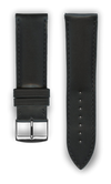 "Italian Luxury Leather ""Sellier"" watchband handmade in France. Color: Black - Bandsforwatches"