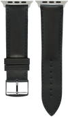 "Italian Luxury Leather ""Sellier"" watchband handmade in France. Color: Black"