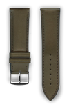 "Italian Luxury Leather ""Sellier"" watchband handmade in France. Color: Kaki"