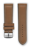 "French leather ""Sport"" watchband handmade in France. Color: Brown - Bandsforwatches"
