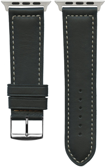 "French Leather ""Sport"" watchband handmade in France. Color: Black"