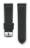 "French Leather ""Sport"" watchband handmade in France. Color: Black - Bandsforwatches"