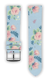 100% Cotton watchband with calf leather back. Design: Flowery