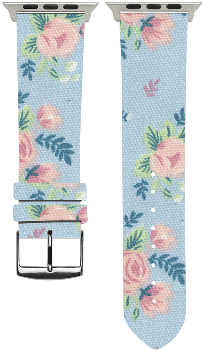 100% Cotton watchband with calf leather back. Design: Flowery - Bandsforwatches