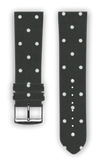 100% Cotton watchband with calf leather back. Design: White Dots - Bandsforwatches