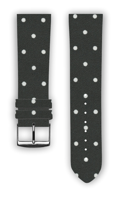 100% Cotton watchband with calf leather back. Design: White Dots