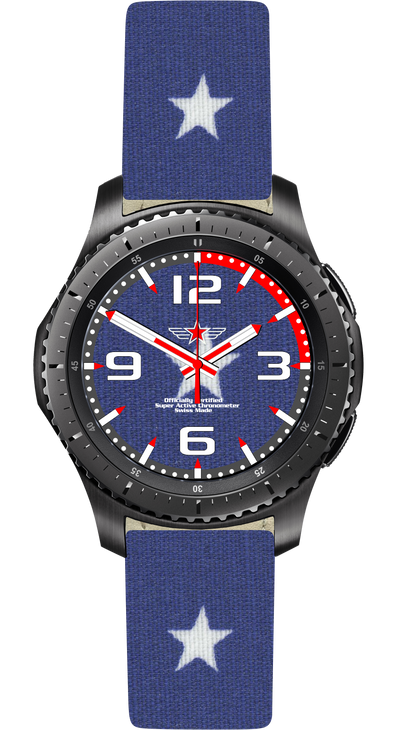 Watch Face Samsung Gear S3 Frontier - Classic - S2 design Cotton Blue Star - Bandsforwatches