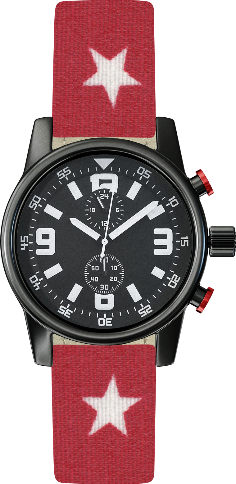100% Cotton watchband with calf leather back. Design: Red Star