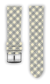 100% Cotton watchband with calf leather back. Design: Vichy Grey - Bandsforwatches