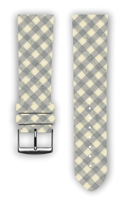 100% Cotton watchband with calf leather back. Design: Vichy Grey