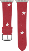 100% Cotton watchband with calf leather back. Design: Red Star - Bandsforwatches