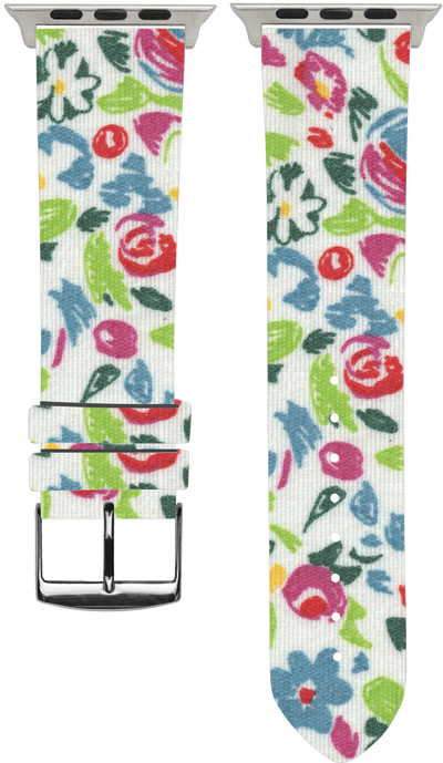 100% Cotton watchband with calf leather back. Design: Flora - Bandsforwatches