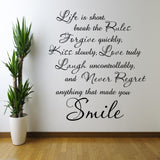 Life Is Short Wall Quote WSD421