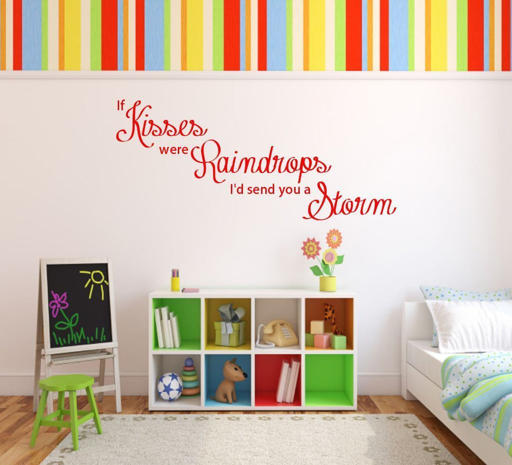 Kisses Storm Raindrops Wall Quote WSD380