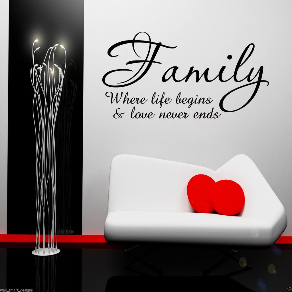 Family Where Life begins Wall Quote WSD439