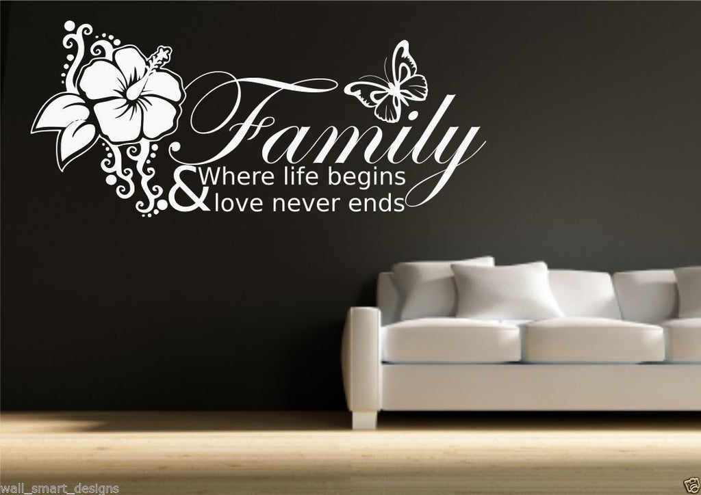 Family Love Life Begins Wall Quote WSD416