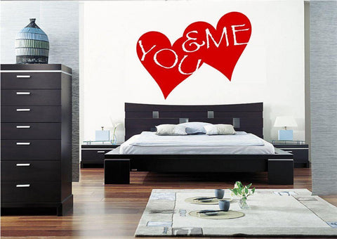You And Me Hearts Vinyl Wall Art Sticker WSD444