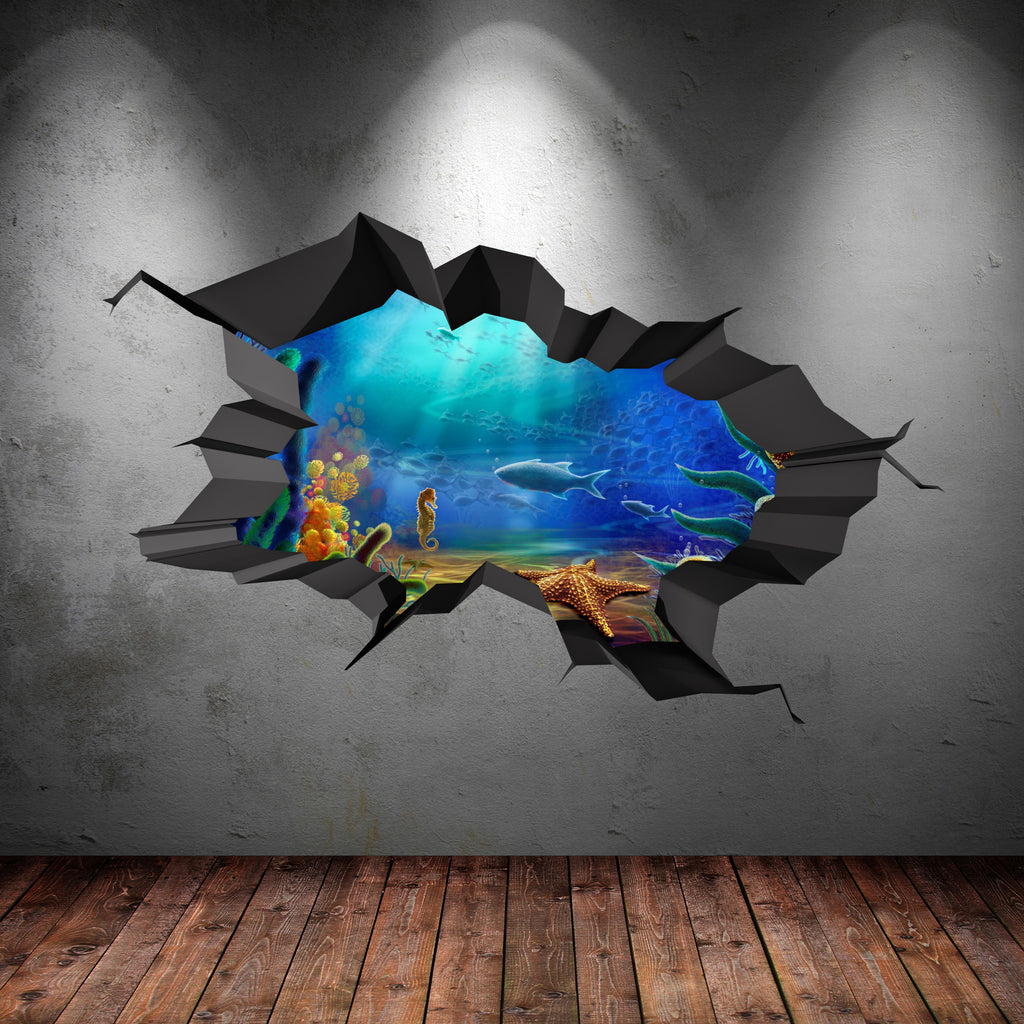 3d aquarium wall sticker wsd93 for Aquarium mural gifi