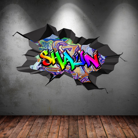 Full Multi Colour Cracked Personalised Graffiti Wall Sticker WSD182