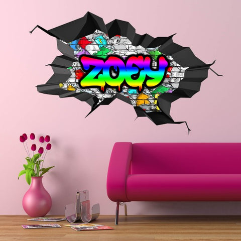 Personalised Full Multi Colour Custom Graffiti Name Cracked Wall Art Stickers Decor For Kids Vinyl Decals Murals Graphics Prints WSDPGN21