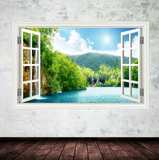 3D Lake Window Wall Sticker WSD92