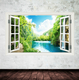 3D Lake Beach Window Wall Sticker WSD345