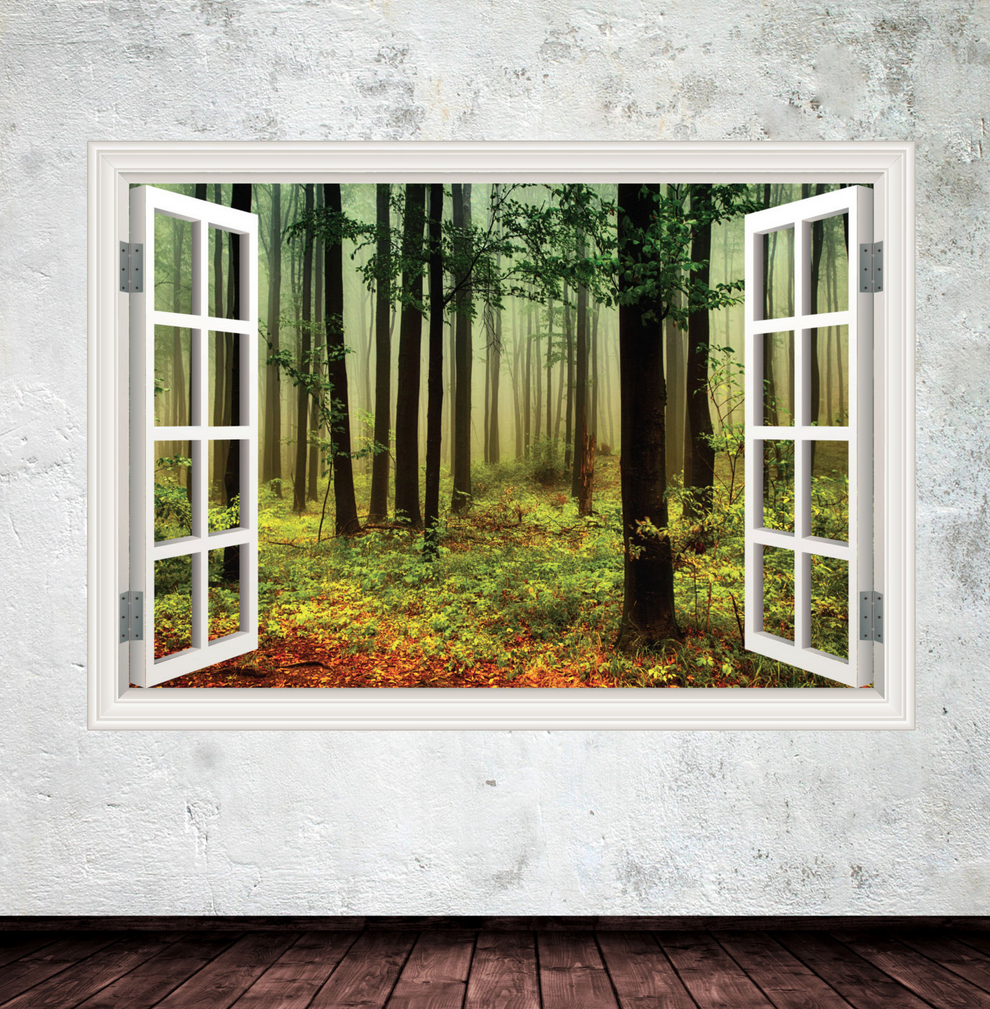 3D Woods In Window Wall Sticker WSD615