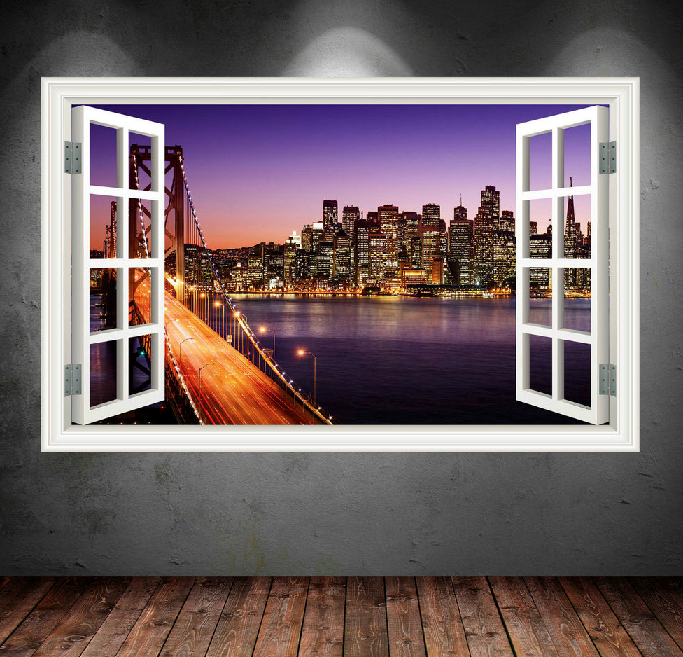 3D New York Sunset Window Wall Sticker WSD13