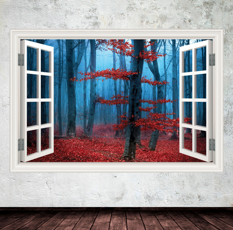 3D Autumn Forest Window Wall Sticker WSD239