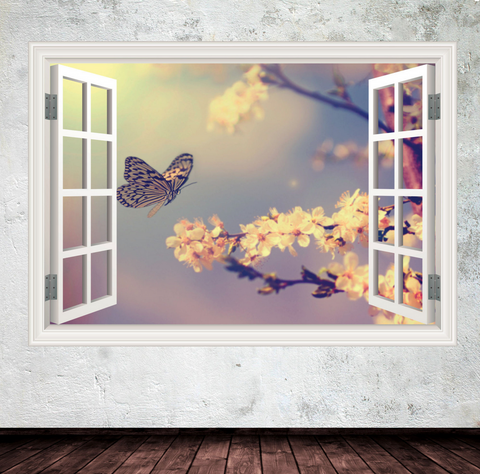 3D Butterfly Window Wall Sticker WSD240